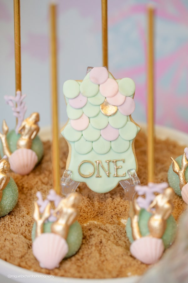 Magical Mermaid First Birthday Party Cake Pops and Cookies