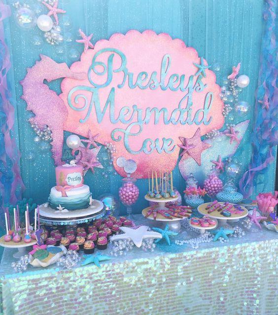 Mermaid Party Ideas | Dessert Table