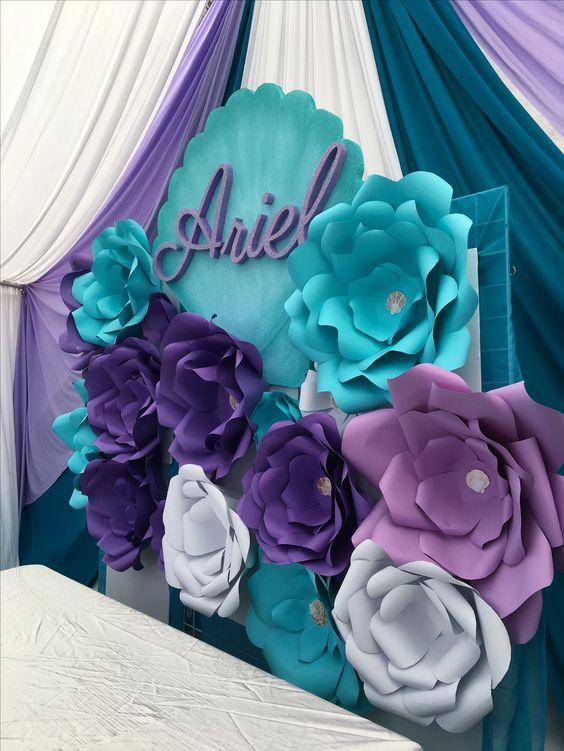 DIY Flower Backdrop for Mermaid Party