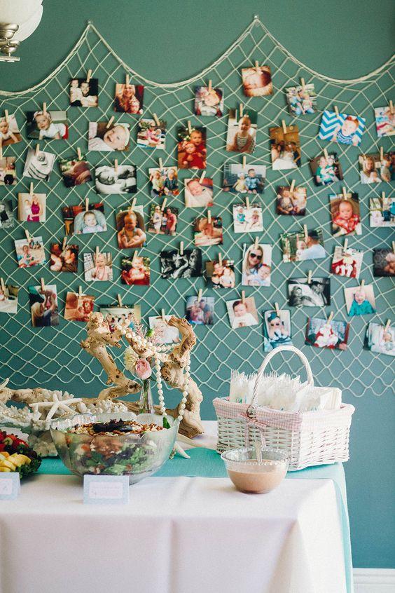 Mermaid Party Ideas - Netting Photo Display
