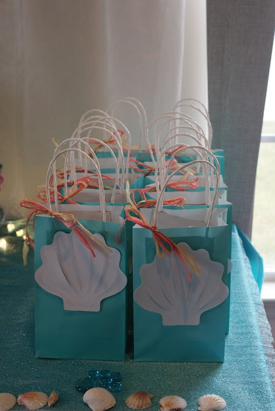 Seashell Favor Bags for a Mermaid Birthday Party