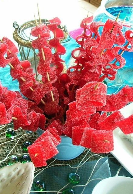 Mermaid Party ideas | Seaweed Candy Kabobs