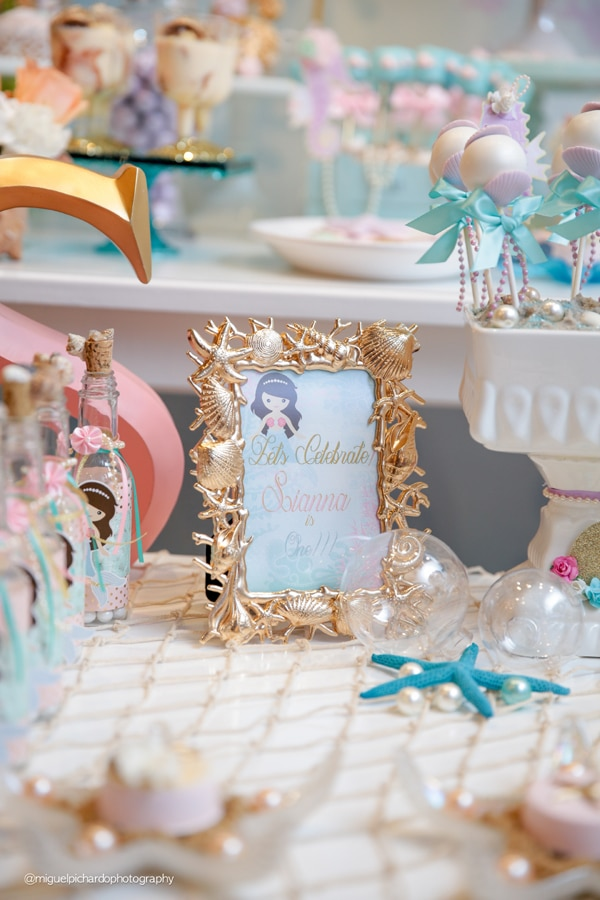 Magical Mermaid First Birthday Party Sign