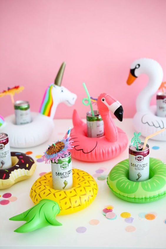 Mini Pool Float Drink Holders - Fun Bachelorette Party Ideas