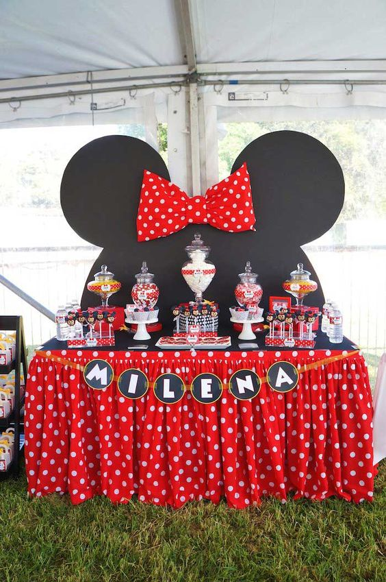 Minnie Mouse dessert table in red and black color combination.