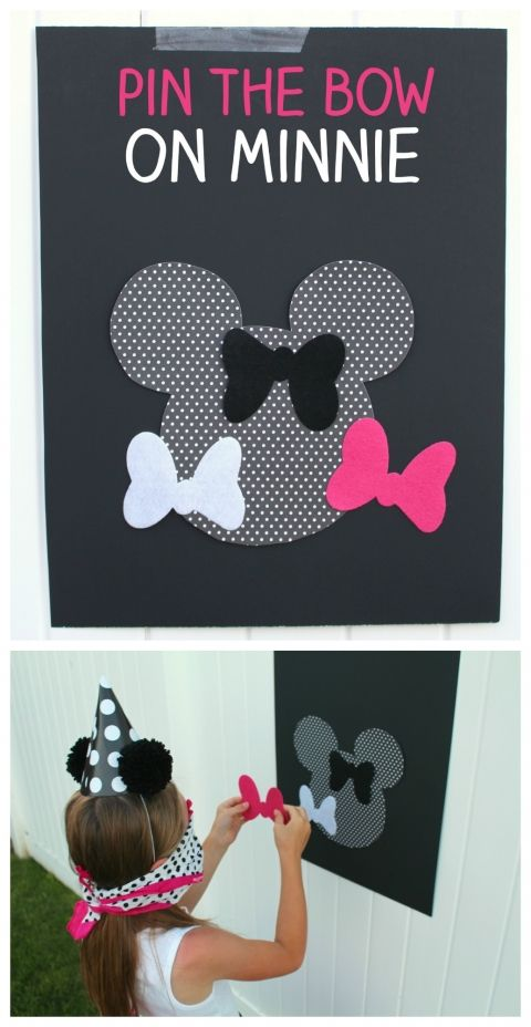 Minnie Mouse pin the wheel party game idea