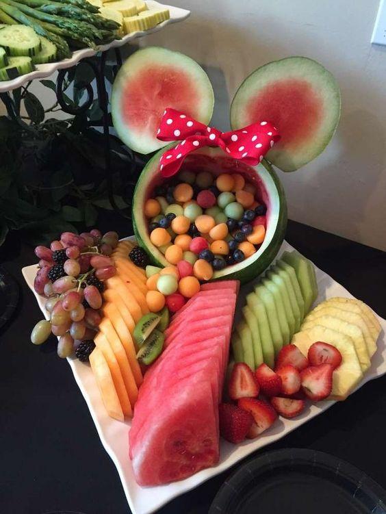 Minnie Mouse Party Ideas   DIY Watermelon Fruit Bowl
