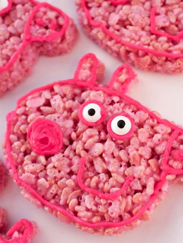 Peppa Pig Rice Krispie Treats - Peppa Pig Party Ideas