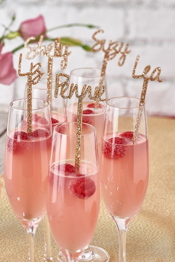 Personalized Gold Glitter Drink Stirrers - The Best Bachelorette Party Ideas