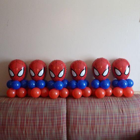 Spiderman Birthday Balloon Table Centerpieces