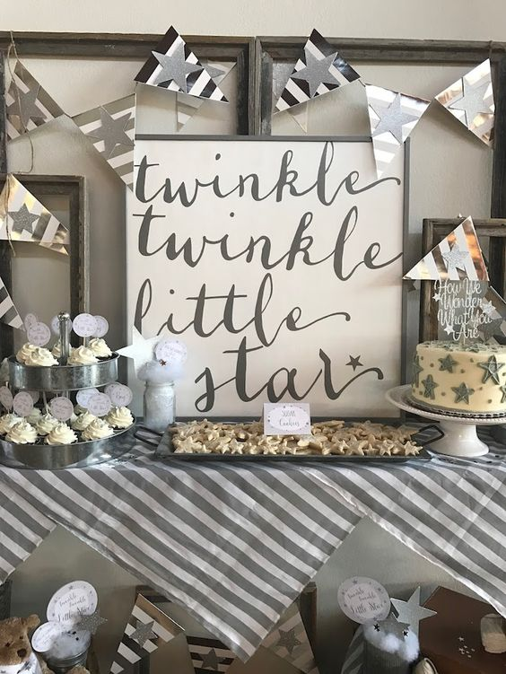 A gender reveal party with a Twinkle Little Star theme.