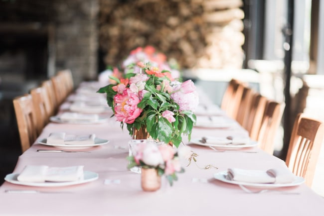 Pink Peony Inspired Baby Shower Table