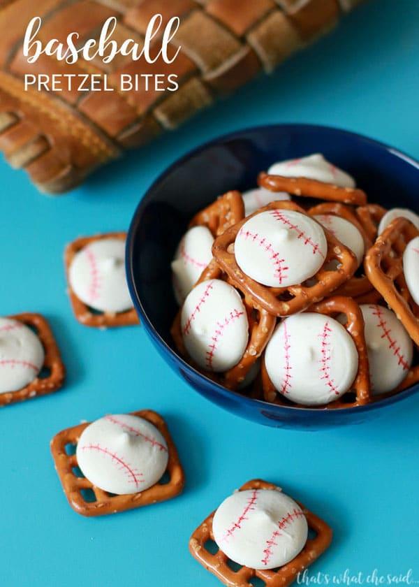 Baseball Pretzel Bites | Baseball Party Ideas