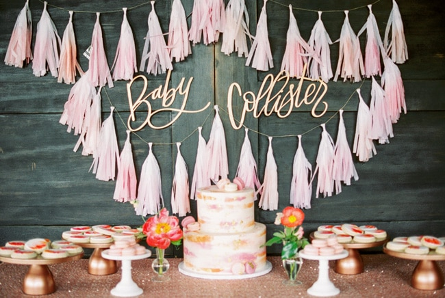 Pink Peony Inspired Baby Shower Sweets Table