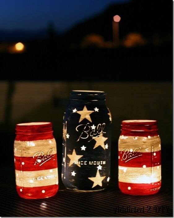 DIY Stars and Striped Mason Jar Lanterns | Labor Day Party Ideas