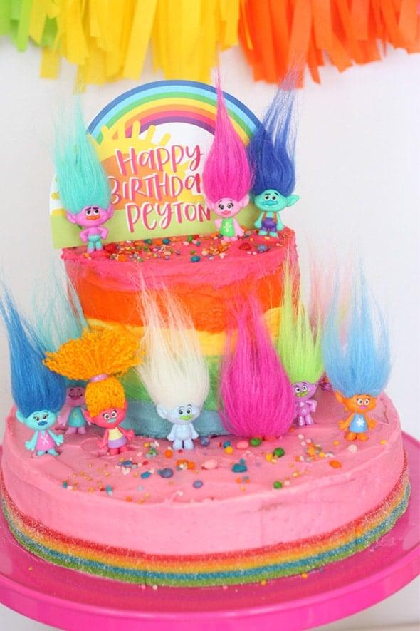 Colorful Trolls Birthday Cake