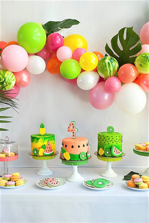 Tropical Tutti Frutti Cake Table | Tutti Frutti Party Ideas