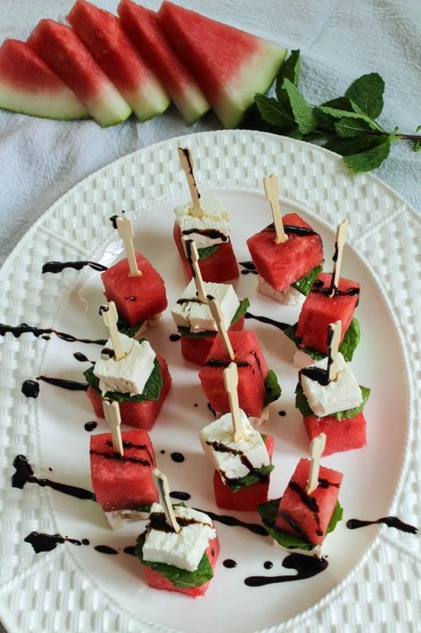 Watermelon Feta Skewers | Labor Day Party Ideas