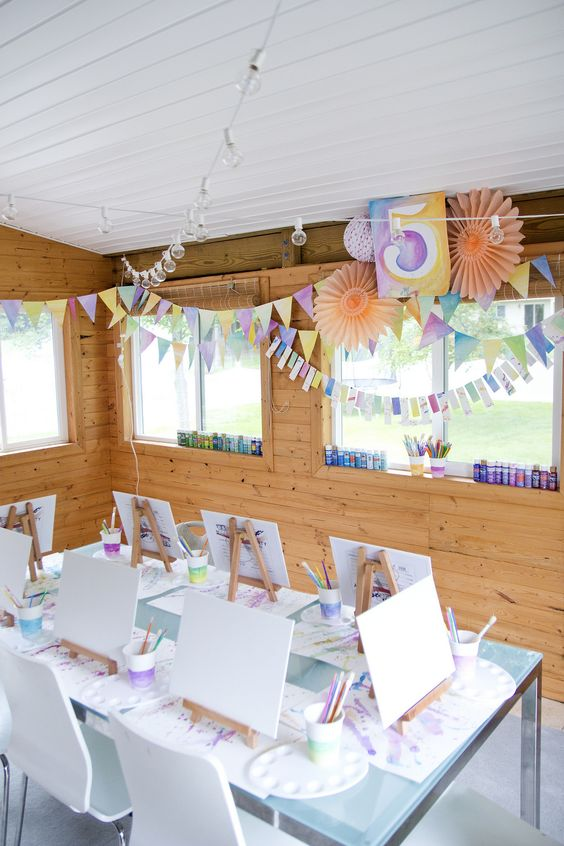 Artist Party Table with Watercolor Decorations | Art Themed Party Ideas