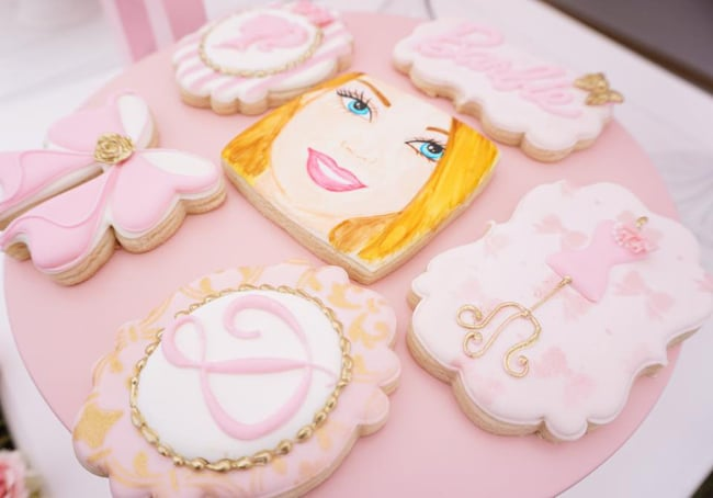 Barbie Glam Birthday Party Cookies featured on Pretty My Party