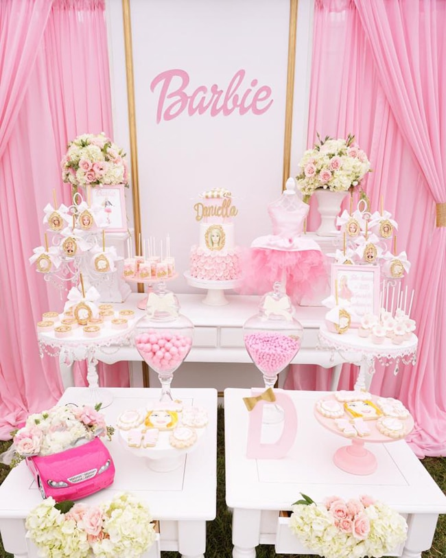 Pink Barbie Glam Birthday Party Dessert Table featured on Pretty My Party