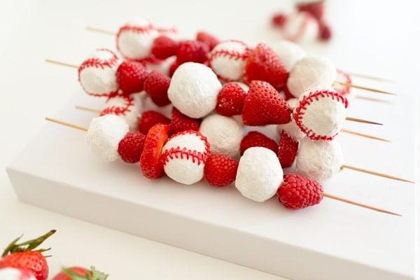 Baseball Donut Fruit Kabobs | Baseball Party Ideas