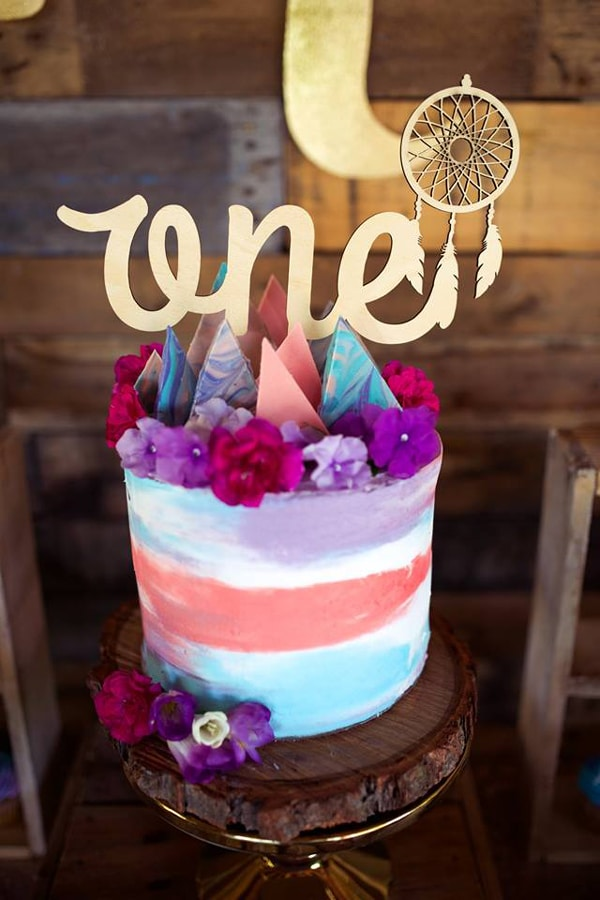 Boho First Birthday Cake - Boho Chic Party Ideas