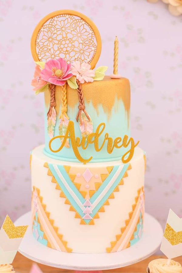Boho Chic Birthday Cake - Boho Chic Party Ideas