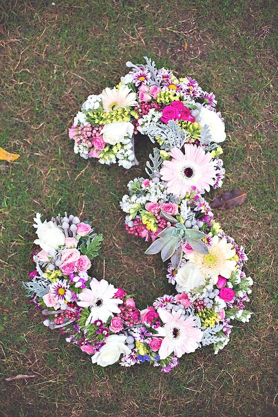 Boho Chic Floral Number - Boho Chic Party Ideas