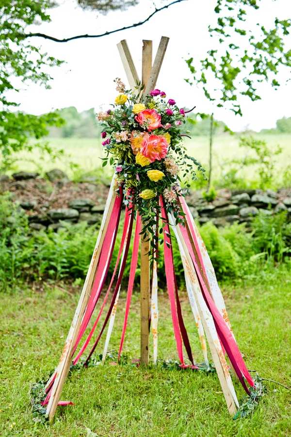 Boho Chic Floral Tee Pee - Boho Chic Party Ideas