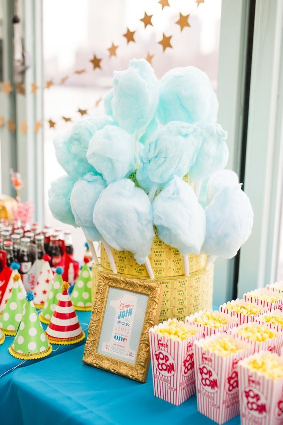 Place cotton candy in stack of tickets | Carnival Party Ideas