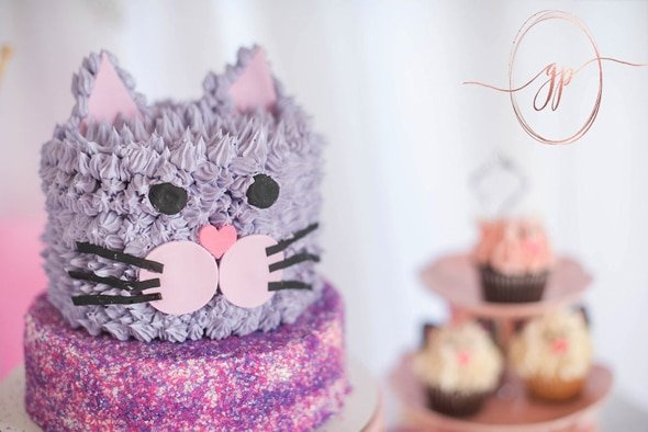 Glam Cat Birthday Cake | Cat Party Ideas