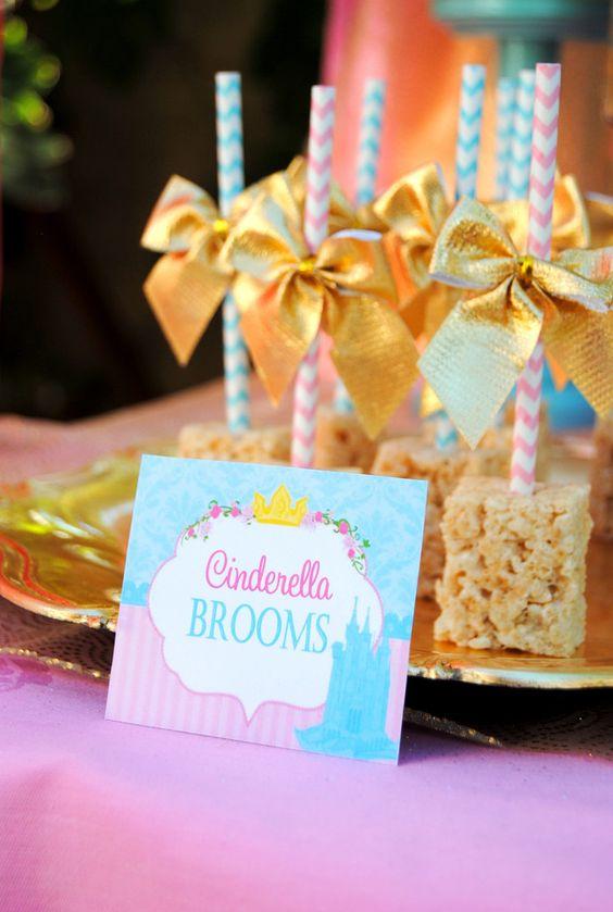 Cinderella Broom Rice Krispie Treats | Cinderella Party Ideas