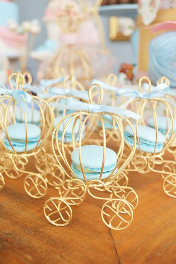 Mini Cinderella Carriages with Macarons | Cinderella Party Ideas