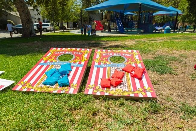Whimsical Circus First Birthday Bean Bag Toss Game