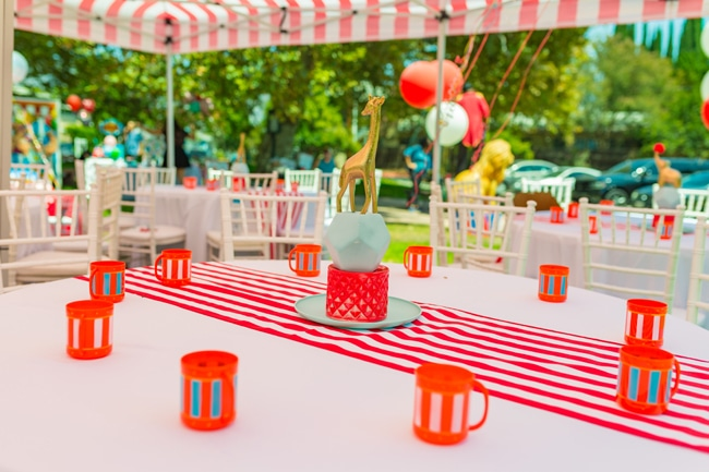 Whimsical Circus First Birthday Party Table Centerpiece