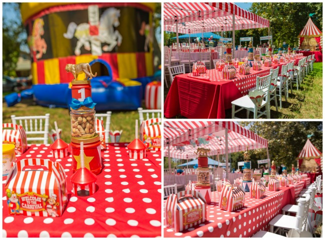 Whimsical Circus First Birthday Party Tables
