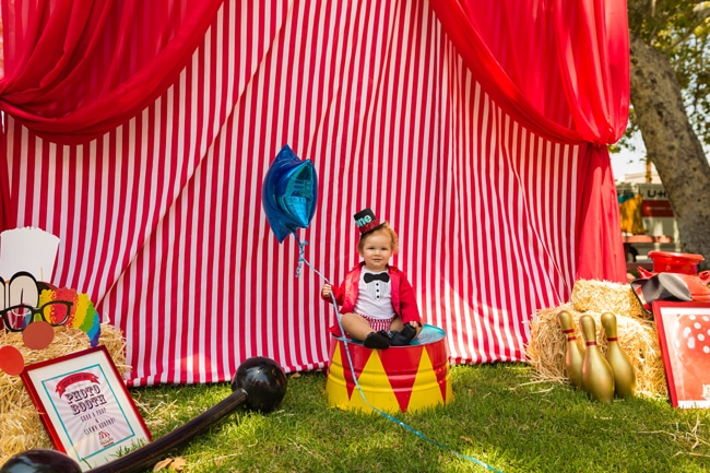Whimsical Circus First Birthday Party Photo Booth