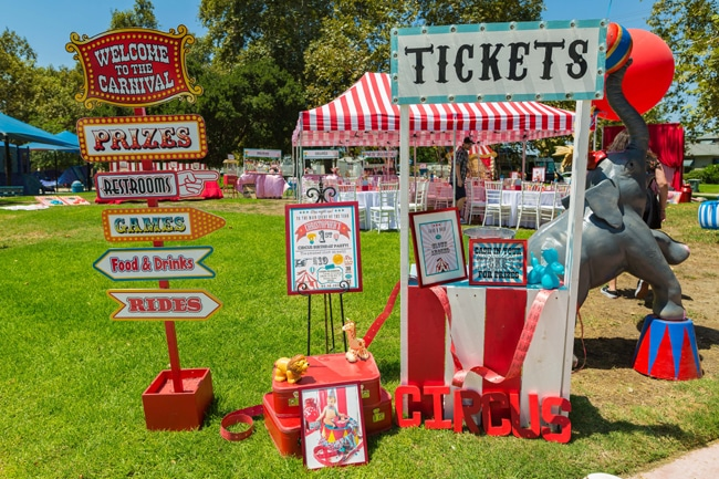 Whimsical Circus First Birthday Party Ticket Booth