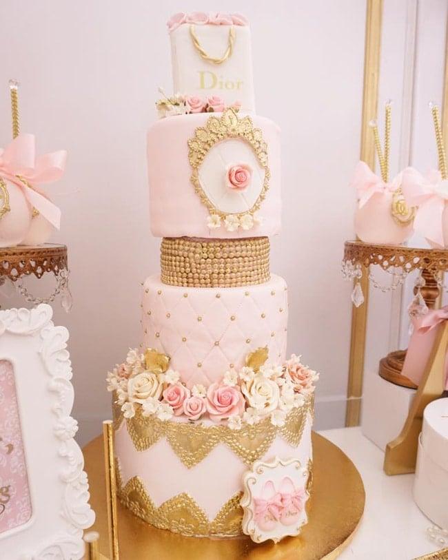 Diamond and Dior Themed Birthday Party Cake