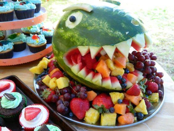Dinosaur Watermelon Fruit Bowl | Dinosaur Birthday Party Ideas