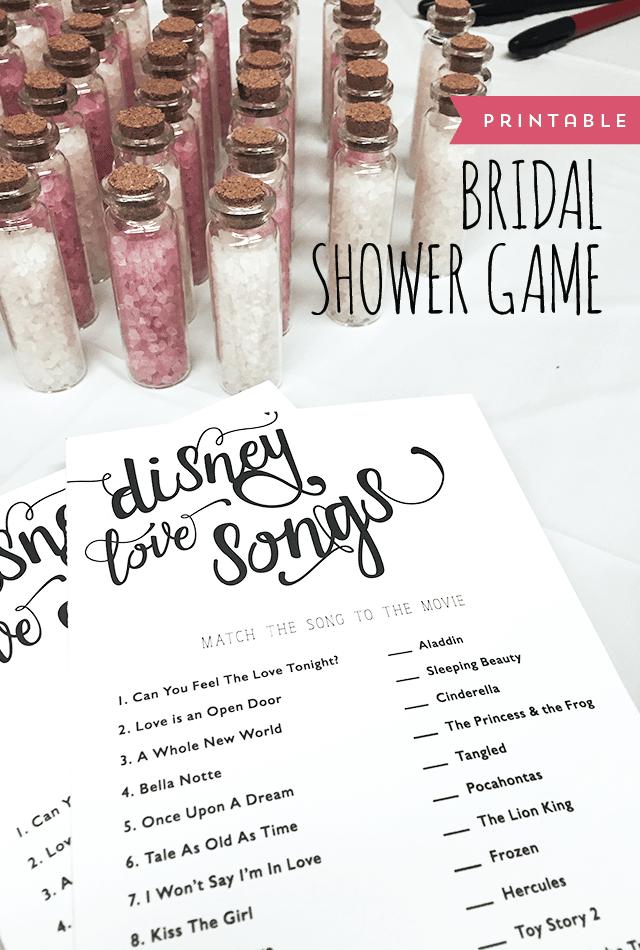 Disney Love Songs - Free Bridal Shower Games