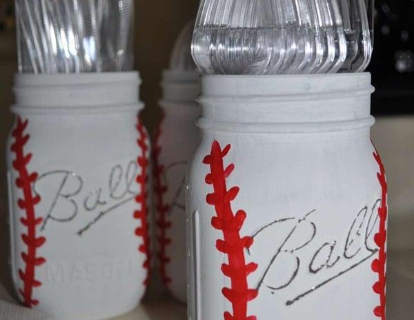 DIY Baseball Mason Jar Utensil Holder | Baseball Party Ideas