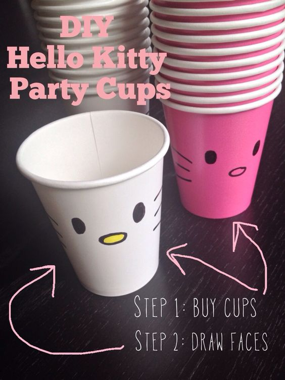 DIY Hello Kitty Party Cups | Hello Kitty Party Favors