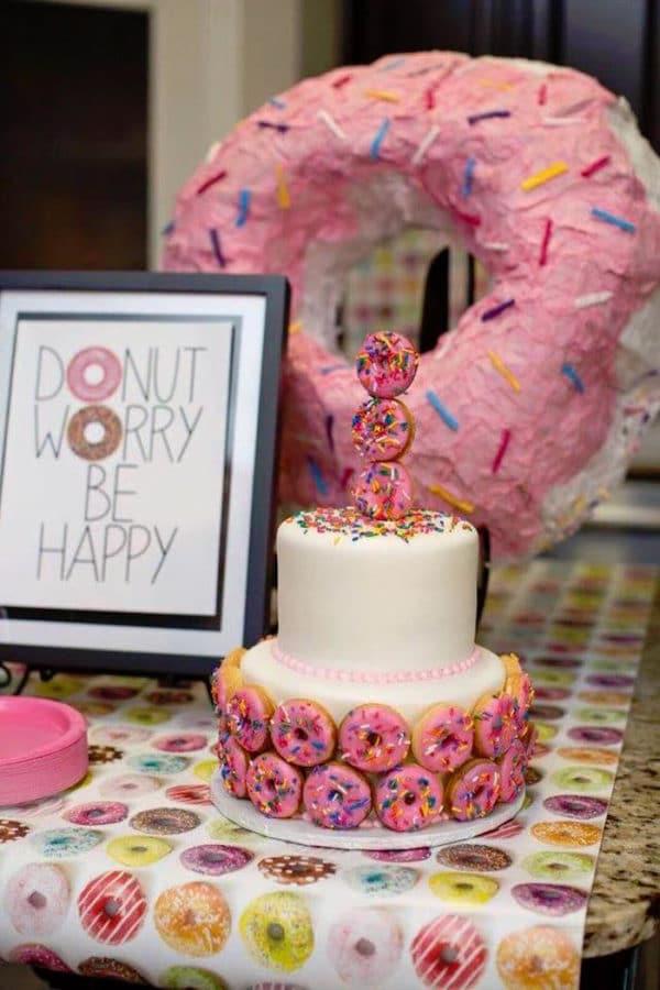 Donut Birthday Cake | Donut Themed Party Ideas