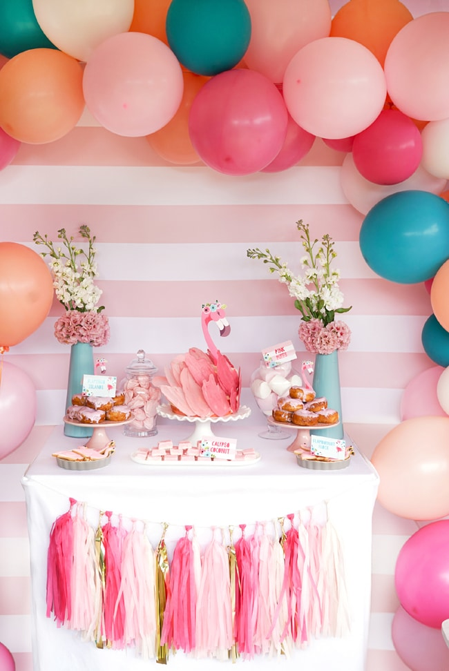Flamingo Birthday Party Sweets Table