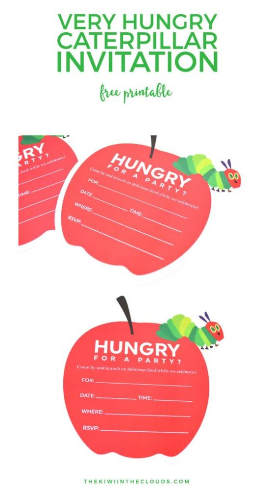 Free Very Hungry Caterpillar Party Invitation Printable