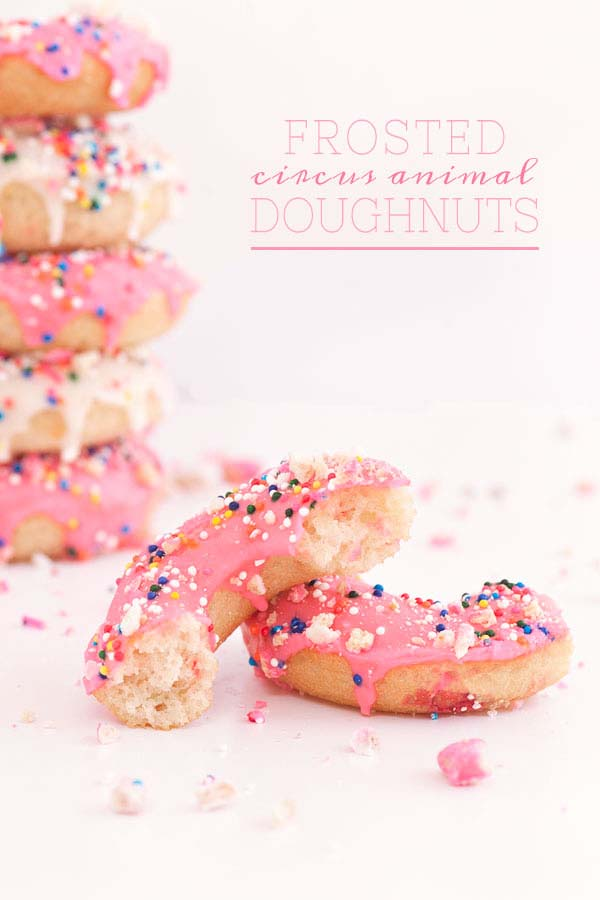 Frosted Circus Animal Cookie Donuts | Circus Animal Cookie Party Ideas