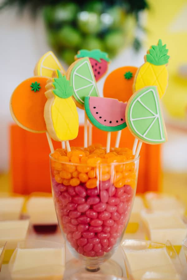 Fruit Cookie Pops | Tutti Frutti Party Ideas