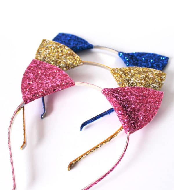 Glitter Kitty Cat Ear Headbands | Cat Party Ideas